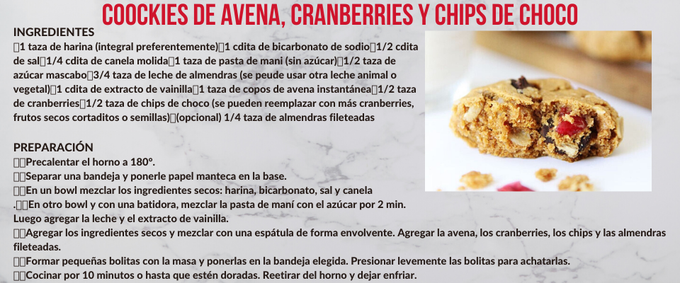 Cookies de avena, cranberries y chips de choco